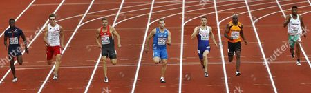 (l-r) Midkael-meba Zeze From France Karol Zalewski From Poland Julian Reus From Germany Italy's Davide Maneti Danny Talbot of Britain Churandy Martina of Netherlands and David Lima From Portugal During the Semi Final of the Men's 200 M Race at the European Athletics Championships in the Olympic Stadium Amsterdam the Netherlands 08 July 2016 Netherlands Amsterdam