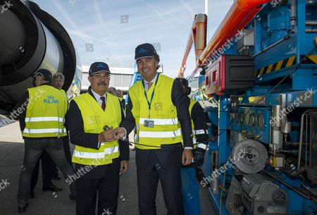 Camiel Eurlings (r) the Ceo of Dutch Air Carrier Klm and the Prime Minister of Aruba Mike Eman (l) Pose at a Pump Truck at Schophol Airport Near Amsterdam the Netherlands 16 May 2014 at the Start of a Series of Biofuel Flights From Amsterdam to Aruba and Curcao Klm Said They Are Convinced That the Use of Sustainable Biofuels is the Key to the Future of Air Transport Netherlands Schiphol