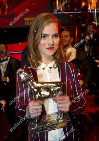 Winner Hannah Hoekstra (best Actress) Poses with Her Award During the Golden Calf Awards As Part of the Netherlands Film Festival in Utrecht the Netherlands 05 October 2012 Netherlands Utrecht