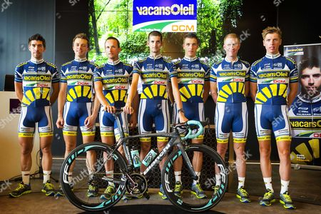 Riders (l-r) Thomas De Gendt Kris Boeckmans Both of Belgium and Dutch Johnny Hoogerland Wout Poels Danny Van Poppel Lieuwe Westra and Boy Van Poppel During the Presentation of Their Vacansoleil-dcm Pro Cycling Team For the 2013 Tour De France in Rucphen Netherlands 20 June 2013 Netherlands Rucphen