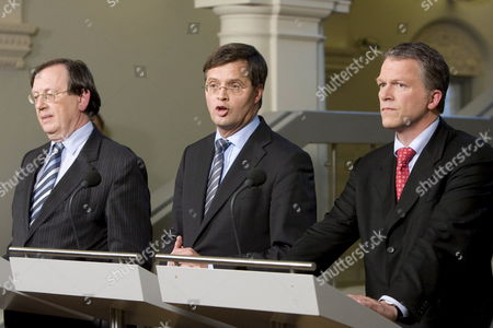 (l-r) Dutch Central Bank Chief Nout Wellink Prime Minister Jan Peter Balkenende and Minister of Finance Wouter Bos Address the Media During a Press Conference in the Hague Netherlands 03 October 2008 the Netherlands Government Confirmed It was Nationalising the Dutch Activities of Embattled Belgian-dutch Banking Group Fortis at a Cost of 16 8 Billion Euros a Move It Hoped Would Reassure Investors Netherlands the Hague