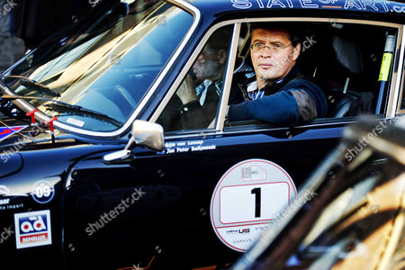 Former Dutch Prime Minister Jan-peter Balkenende Sits in One of the Participating Car Prior to the Start of the So-called Zzf Rally Which Tries to Collect Money For a Fund of Rare Diseases in the Hague the Netherlands 07 October 2012 Netherlands the Hague