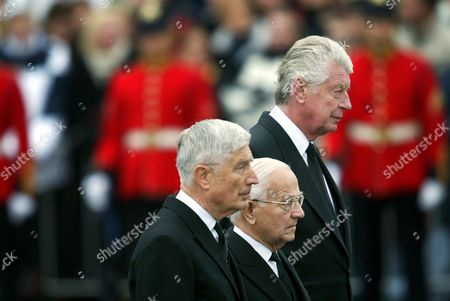 Stock Photo of Nld70 - 20021015 - Delft Netherlands : Former Dutch Prime Ministers (l-r) Dries Van Agt Piet De Jong and Wim Kok on Their Way to the Church in Delft Tuesday 15 October 2002 to Attend the Funeral of Prince Claus Husband of Dutch Queen Beatrix Epa Photo Anp / Robert Vos /lln-hh Netherlands Delft
