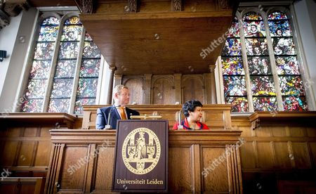 Dutch Minister of Justice Ard Van Der Steur (l) and Us Attorney General Loretta Lynch (r) During a Lecture at the University of Leiden in Leiden the Netherlands 01 June 2016 Dutch Minister of Justice and Us Attorney General Met Students of the University of Leiden in a Lecture on Mutual Cooperation in Justice and Home Affairs Netherlands Leiden