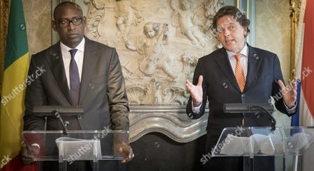 Stock Photo of Dutch Minister of Foreign Affairs Bert Koenders (r) Receives His Counterpart Abdoulaye Diop (l) of Mali in the Hague the Netherlands 24 October 2016 the Minister Will Talk About the Relation Between the Netherlands and Mali Dutch Efforts in the Peace Process and the Importance of the Un Mission Minusma Stability in Mali Netherlands the Hague