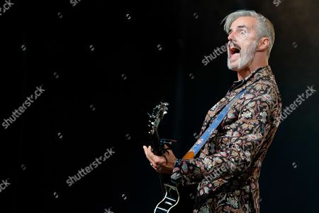 Singer and Guitarist Ruben Block of Belgian Band Triggerfinger Performs on Stage During the Lowlands Music Festival in Biddinghuizen the Netherlands 15 August 2014 the Festival Runs From 15 to 17 August Netherlands Biddinghuizen