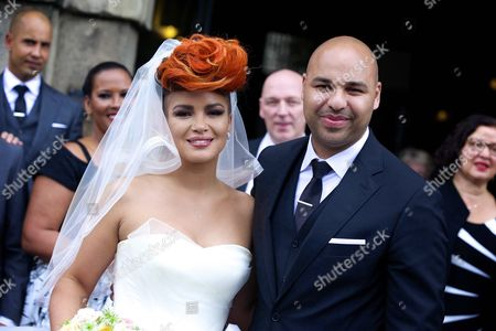 Dutch Dj Sidney Samson (r) and Dutch Singer Eva Simons (l) Pose For Photographs After Getting Married at the Westerkerk Church in Amsterdam the Netherlands 14 July 2014 Samson Popped the Question to Simons During Their Trip to Monaco Six Months Ago Netherlands Amsterdam