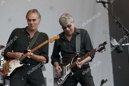 Musicians Rick Fenn (l) and Graham Gouldsman (r) of British Band 10cc Perfrom on Stage During Their Concert at the Parkpop Music Festival in the Hague the Netherlands 29 June 2014 Netherlands the Hague