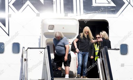 Guitarist Janick Gers (c) of the British Heavy Metal Band Iron Maiden Arrives with the Private Boeing 747 Plane 'Ed Force One' Flown by Lead Singer Bruce Dickinson (unseen) at Schiphol Airport in Schiphol the Netherlands 06 June 2016 Iron Maiden Will Play at the Gelredome in Arnhem on 08 June Netherlands Schiphol