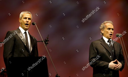 Spanish Tenor Jose Carreras (r) and Italian Tenor Alessandro Safina Perform During Their Concert in Rotterdam the Netherlands 11 September 2008 the Concert was a Combination of Opera and Pop Netherlands Rotterdam