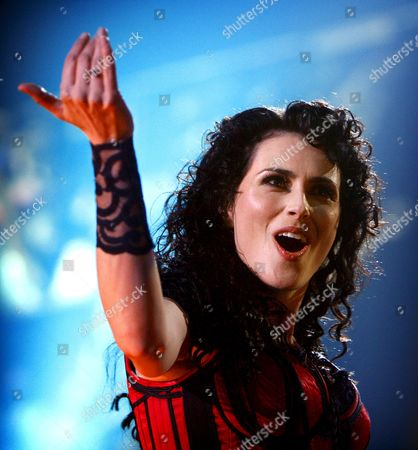 Stock Image of Singer Sharon Den Adel of Dutch Gothic Rock Group Within Temptation Performs on Stage During Their Concert in Ahoy Rotterdam the Netherlands 07 February 2008 Within Temptation Performs Together with the Metropole Orchestra Under Jules Buckley Netherlands Rotterdam