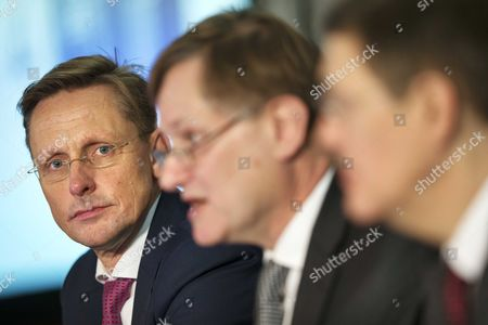 (l-r) Han Ten Broeke Head of the Netherlands' Delegation to the Nato Parliamentary Assembly (pa) Nato Pa President Hugh Bayley and David Hobbs the Nato Pa's Secretary General Attend a Press Briefing Prior to a Nato Parliamentary Assembly Annual Session at the World Forum in the Hague the Netherlands 21 November 2014 During the Summit From 21 to 24 November Parliamentarians From the 28 North Atlantic Treaty Organization (nato) Countries Will Gather to Debate on the Ukraine Conflict and Nato's Relations to Russia As Well As the Security Situation in Afghanistan As Well As to Celebrate the 60th Anniversary of the Parliamentary Assembly Netherlands the Hague