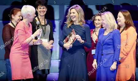 Dutch Queen Maxima (4-l) and Minister of Education Jet Bussemaker (4-r) Attend the Closing Session of 'Power on Tour' in the Fokker Terminal in Den Haag the Netherlands 27 November 2015 Power on Tour is an Incentive Program That Focuses on Women who Are Financially Vulnerable Netherlands the Hague