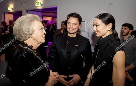 Dutch Princess Beatrix Talks with Artistic Director Samuel Wuersten and Russian Ballerina Diana Vishneva After Attending the Openings Gala of the 15th Edition of the Holland Dance Festival in the Hague the Netherlands 28 January 2016 Netherlands the Hague