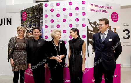 (l-r) Dutch Princess Laurentien Artistic Director Samuel Wuersten Princess Beatrix Russian Ballerina Diana Vishneva and Prince Constantijn After Attending the Openings Gala of the 15th Edition of the Holland Dance Festival in the Hague the Netherlands 28 January 2016 Netherlands the Hague
