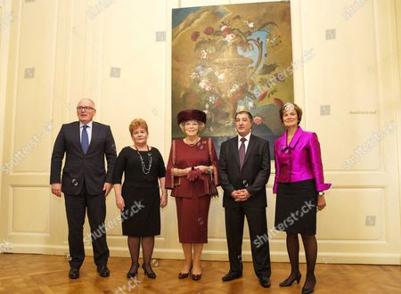 Stock Image of Princess Beatrix of the Netherlands (c) Attends with (l-r) Minister of Foreign Affairs Frans Timmermans Valentina Gritsenko Director of Human Rights Ngo Spravedlivost Utkir Dhzabbarov Senior Lawyer of Spravedlivost and Astrid Thors Osce High Commissioner on National Minorities the Ceremony of the Max Van Der Stoel Awards at Het Spaansche Hof the Hague 02 October 2014 the Award was Presented to Spravedlivost a Human Rights Ngo in Jalal-abad Kyrgyzstan Spravedlivost Provides Legal Aid to the Victims of the 2010 Events in Southern Kyrgyzstan Regardless of Ethnicity Netherlands the Hague