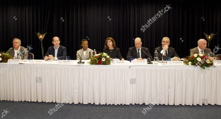 Stock Image of Former Dutch Soccer Player Johan Cruyff (far L) Sits Next to Members of the Supervisory Board (l-r) Paul Romer Edgar Davids Marjan Olfers Steven Ten Have Martin Sturkenboom and Jeroen Slob During the Shareholders Meeting of Dutch Soccer Club Ajax in Amsterdam Netherlands 12 December 2011 the Shareholders of Ajax Have to Comment on the Appointment of Ceo Louis Van Gaal and Interim Director Martin Sturkenboom Netherlands Amsterdam