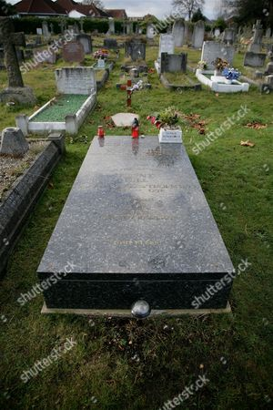 Stock Picture of The grave  of Benny Hill at Holybrook Cemetery, Shirley, Southampton, Britain