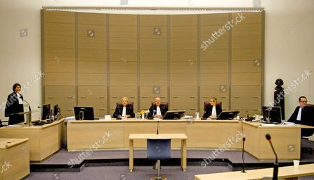 District Attorney M Ridderbeks Judge a (l-r) a Kalk Chairman of the Court Mr J Van Der Groen Judge B E Dijkers and Clerk Mr R Meulendijk in the Court House in Rotterdam the Netherlands 23 October 2013 Prior to the Verdict of Two Dutch Persons That Intended to Join the Jihad Fighters in Syria They Were Found Guilty of Preparing Murder and Arson Omar H who was Arrested in Germany in June of This Year was Sentenced to 12 Years Mohammed G was Declared of Unsound Mind Netherlands Rotterdam