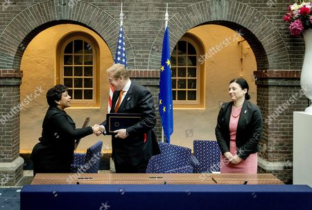 (l-r) Us Attorney General Loretta Lynch Dutch Minister of Justice Ard Van Der Steur and Eu Commissioner in Charge of Justice Consumers and Gender Equality Vera Jourova During the Signing of a So-called Umbrella Agreement in Amsterdam the Netherlands 02 June 2016 Containing Agreements to Ensure That Personal Data is Better Protected Netherlands Amsterdam
