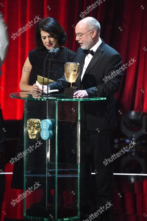 Stock Picture of Anna Pinnock and James Hambidge, winners of the 'Production Design' award for 'Fantastic Beasts And Where To Find Them'