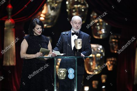Stock Image of Anna Pinnock and James Hambidge, winners of the 'Production Design' award for 'Fantastic Beasts And Where To Find Them'