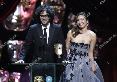Babak Anvari, Emily Leo, winners of the Outstanding Debut by a British Writer, Director or Producer for 'Under The Shadow'