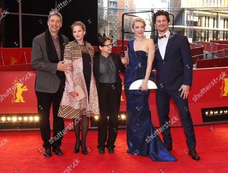 (L-R) Slovakian actress Alexandra Borbely, Hungarian actor Geza Morcsanyi, Hungarian actress Reka Tenki, Hungarian director Ildiko Enyedi,  Hungarian musician and actor Ervin Nagy arrive for the premiere of 'Testrol es Lelekrol' (On Body and Soul) during the 67th annual Berlin Film Festival, in Berlin, Germany, 10 February 2017. The movie is presented in the Official Competition at the Berlinale that runs from 09 to 19 February.
