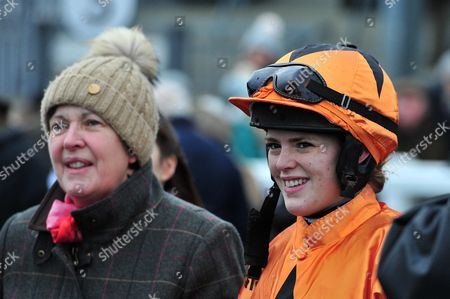 Jockey, Lizzy Kelly and Owner (and Lizzys' Mother) Jane Williams watch the replay - RACE 5 - 15:50 Exeter - 188bet.co.uk Graduation Chase (Class 2) at Exeter Racecourse, Exeter, Somerset, England. - PHOTO: Tom Sandberg/PPAUK