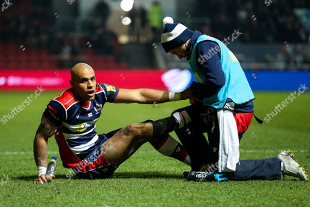 Tom Varndell of Bristol Rugby is treated after he scores a try to become the all time leading Premiership Rugby Tryscorer, 1 ahead of Mark Cueto