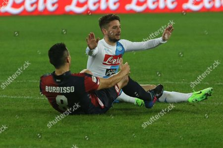 Napolis' forward Dries Mertens, right, gestures sitting on the pitch near Genoa's defender Nicolas Burdisso, left, during the Italian Serie A soccer match between  SSC Napoli and CFC Genoa at San Paolo stadium in Naples, Italy, 10 February 2017.