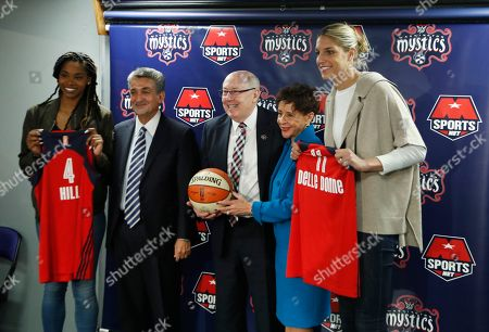 Elena Delle Donne, Tayler Hill, Ted Leonsis, Mike Thibault, Sheila Johnson Washington Mystics' Elena Delle Donne, right, poses for a picture with, from left, teammate Tayler Hill, Mystics owner Ted Leonsis, coach Mike Thibault, and part-owner Sheila Johnson during a news conference in Washington, . Delle Donne was acquired by the Mystics from the Chicago Sky this month in one of the biggest trades in the WNBA's history