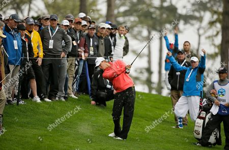 Smylie Kaufman hits from off the 10th fairway of the Spyglass Hill Golf Course during the second round of the AT&T Pebble Beach National Pro-Am golf tournament, in Pebble Beach, Calif