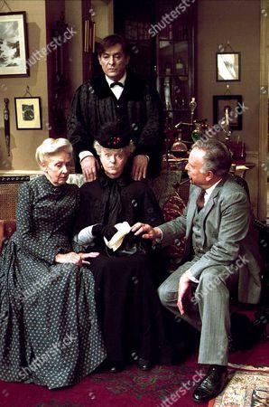 'Sherlock Holmes'   TV   1980's Memoirs of Sherlock Holmes: The Red Circle  Mrs Hudson [Rosalie Williams], Mrs Warren [Betty Marsden], Watson [Edward Hardwicke] and Sherlock Holmes [Jeremy Brett] standing.