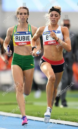Stock Picture of Australian athlete Rubie Annaliese (2-R) with English athlete Alex Bell (R) in the Mixed 2000 Sprint Medley during the NITRO Athletics series session 3 at Lakeside Stadium in Melbourne, Australia, 11 February 2017.