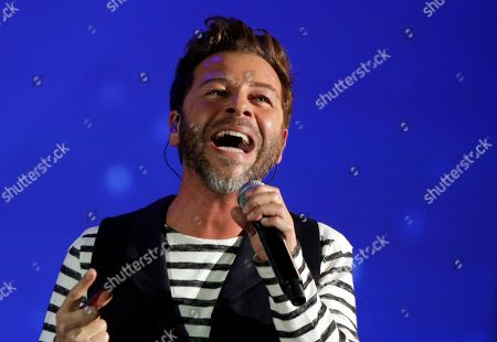 French singer Christophe Mae performs on stage during the 32nd Victoires de la Musique, the annual French music awards ceremony, in Paris