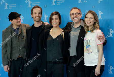 From left, actor Georg Friedrich, actor Joerg Hartmann, actress Pia Hierzegger, Director Josef Hader and actress Nora von Waldstaetten pose for the photographers during a photo call for the film 'Wild Mouse' at the 2017 Berlinale Film Festival in Berlin, Germany