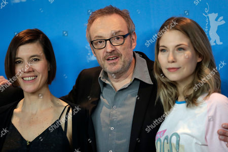 From left, actress Pia Hierzegger, Director Josef Hader and actress Nora von Waldstaetten pose for the photographers during a photo call for the film 'Wild Mouse' at the 2017 Berlinale Film Festival in Berlin, Germany