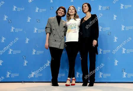 From left, actresses Crina Semciuc, Nora von Waldstaetten and Pia Hierzegger pose for the photographers during a photo call for the film 'Wild Mouse' at the 2017 Berlinale Film Festival in Berlin, Germany