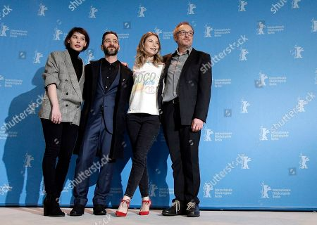 From left, actress Crina Semciuc, actor Denis Moschitto, actress Nora von Waldstaetten and director Josef Hader pose for the photographers during a photo call for the film 'Wild Mouse' at the 2017 Berlinale Film Festival in Berlin, Germany