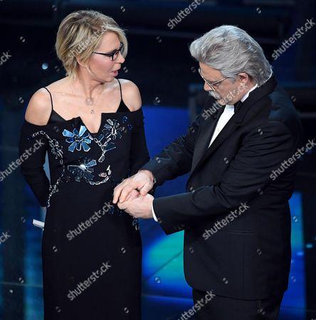 Maurizio Crozza and Maria De Filippi