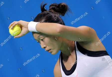 Kai-Chen Chang of Taiwan in action against Anna Blinkova of Russia during the Fed Cup World Group II match between Russia and Taiwan at the Luzhniki sport center in Moscow, Russia, 11 February 2017.