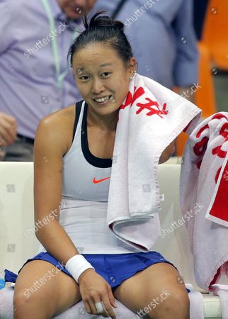 Stock Picture of Kai-Chen Chang of Chinese Taipei celebrates her victory over Anna Blinkova of Russia during the Fed Cup World Group II match between Russia and Taiwan at the Luzhniki sport center in Moscow, Russia, 11 February 2017.