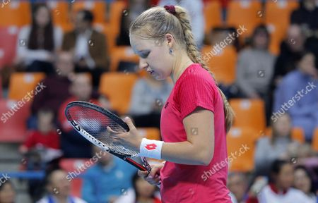 Anna Blinkova of Russia in action against Kai-Chen Chang of Taiwan during the Fed Cup World Group II match between Russia and Taiwan at the Luzhniki sport center in Moscow, Russia, 11 February 2017.
