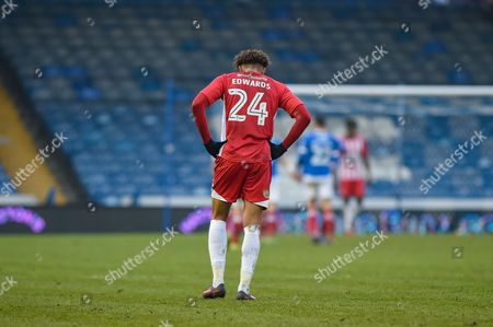 a dejected Accrington Stanley Forward, Jonathan Edwards (24) after portsmouth score 2-0 during the EFL Sky Bet League 2 match between Portsmouth and Accrington Stanley at Fratton Park, Portsmouth