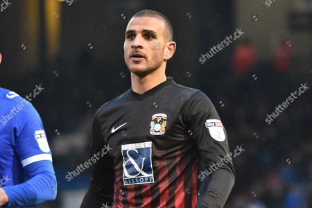 Coventry City Forward, Marcus Tudgay (20)  during the EFL Sky Bet League 1 match between Oldham Athletic and Coventry City at Boundary Park, Oldham