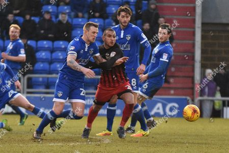 Stock Image of Both goal scorers, Oldham Athletic Defender, Peter Clarke (26) and Coventry City Forward, Marcus Tudgay (20)  during the EFL Sky Bet League 1 match between Oldham Athletic and Coventry City at Boundary Park, Oldham