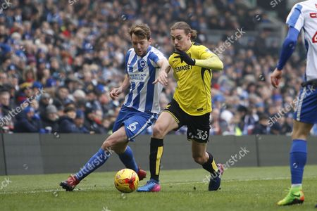 Burton Albion midfielder Jackson Irvine (36) battles for possession with Brighton & Hove Albion central midfielder Dale Stephens (6) during the EFL Sky Bet Championship match between Brighton and Hove Albion and Burton Albion at the American Express Community Stadium, Brighton and Hove