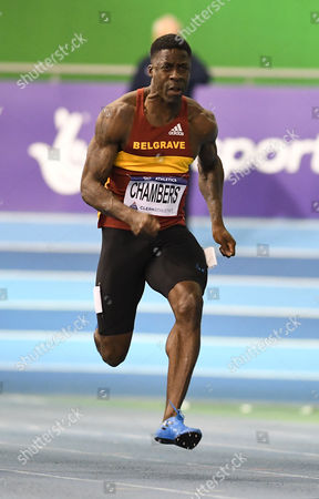 Stock Picture of Belgrave H's Dwain Chambers during the mens 60m heats on Day One of the British Athletics Indoor Team Trials at the English Institute of Sport, Sheffield on 11th February 2017.
