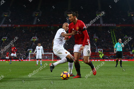 Younes Kaboul of Watford and Zlatan Ibrahimovic of Manchester United during the Premier League match between Manchester United and Watford played at Old Trafford, Manchester on 11th February 2017